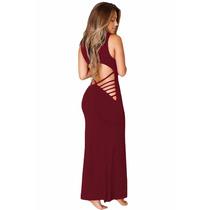 Moda Sexy Vestido Largo Vino Con Aberturas Tiras En Espalda