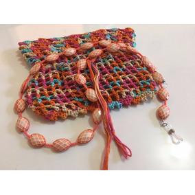Corrente/cordão P/ Óculos Miçanga + Saquinho Crochê 201725