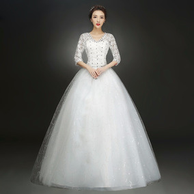 Vestido Novia Princesa Manga Larga Piedras Ivory F