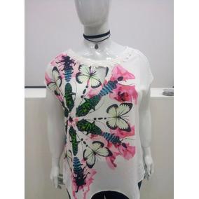 T Shirt Bata Blusa Plus Size Gordinha Senhora Floral Verão