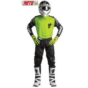 Traje Moto Cross Kit Pantalon Jersey Guantes Verde Kawasaki