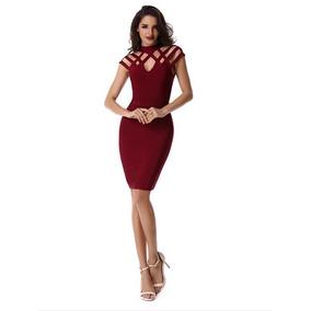 Vestido Bandage Rojo Tipo Herve Leger Sexy + Bra De Regalo