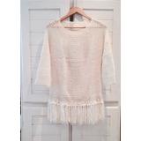 Envío Gratis! Sweater Tejido Crochet Flecos Punta Del Este