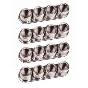 Porta Condimento 16 Potes Tempero Magnético Aço Inox Imã