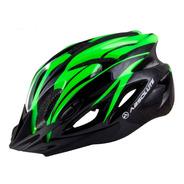 Capacete Absolute Sinalizador Led Ciclismo Bike Nero Verde