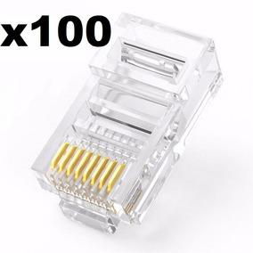 Lote 100 Conectores Plug Rj45 Cat5 Para Cable Red Utp Piezas