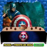 Painel Capitão América 2x1.50+frente De Mesa+frete Grátis