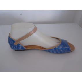 Sandalias Azul De Puntos, Blanca Con Rojo 40-41