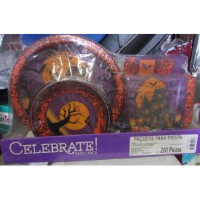 Paquete Fiesta Dia Muertos Halloween Platos Y Servilletas