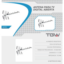 Antena Tda Exteriorl Hd 20 Mt. Cable Rg6 Tgw 20% Off