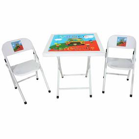 Conjunto Mesa De Ferro Infantil Dobrável Com 2 Cadeiras