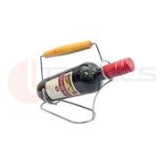 Porta Vinho Suporte Para Garrafa Cromado Alça De Madeira