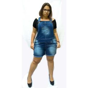 Jardineira Macacão Short Plus Size 46 Ao 54