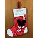 Decoração Meia Mickey Disney De Natal Bota Papai Noel