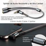 Cable Splitter Punta L De Audio Audifono Y Smartphone 1 A 2