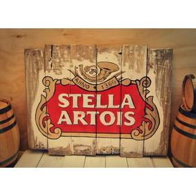 Anuncio Cerveza Stella Artois, Letrero Madera Vintage Retro