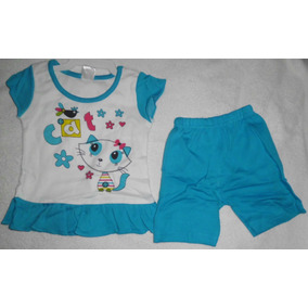Franela Y Short Azul Vestido Ropa Bebe Niña Franela Gata Cat
