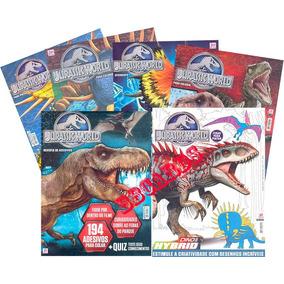 Jurassic World Atividades Pinturas Adesivos Kit 6 Revistas