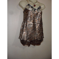 Saldo No Ilusion Pijama Blusa Short Satinados Animal Print
