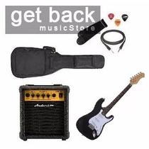 Combo Guitarra Stratocaster + Funda + Correa + Ampli 10w
