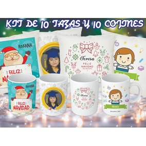 Kit De 10 Tazas Y 10 Cojines