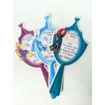10 Invitación Original Espejo Princesas Disney