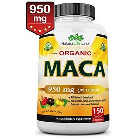 Orgánico Raíz De Maca Negro, Rojo, Amarillo 950 Mg Por Cápsu