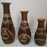 Jogo De Vaso Decorativo Marajoara Três Peças De Cerâmica