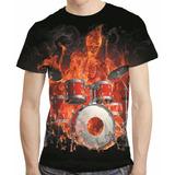 Camisa Rock Camiseta Caveira Baterista Chamas Estampa Total