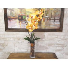 Arranjo Orquídea Artificial Amarela Vaso Vidro Grande