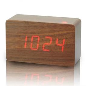Relógio De Parede (mesa) Madeira Digital E De Led Decoração