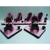 5 Centros De Mesa Scarpin Em Eva Glitter 15 Anos Rosa Preto