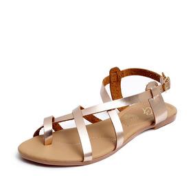 Zapatos Sandalias Huaraches Dama Zapatillas Moda Oro 1203