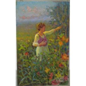 Quadro Menase Vaidergorn - Catando Flores - 22 X 36 Cm