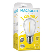 Macroled Lampara Led Deco Color Amarillo Gota 1w S14 E27