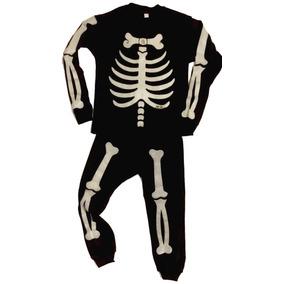Esqueleto Pijama Disfraz Niños Brilla En La Oscuridad