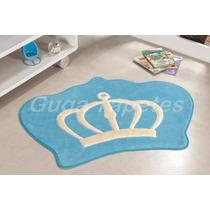 Tapete Infantil Pelucia Coroa Principe Realeza Azul Claro