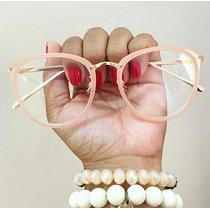 Oculos Armação Gatinho Redondo Geek Frete Grátis