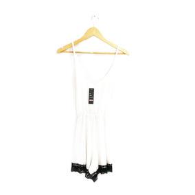 Mono Mujer Tiritas Blanco / Puntilla Negra Talle Único 1169
