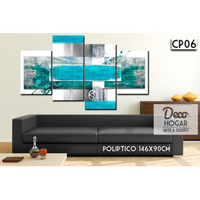 cuadro poliptico moderno 146x90 decoracin abstracto living - Living Moderno