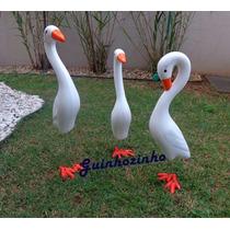 Trio De Garças De Cerâmica Para Decorar Jardim Frete Gratis
