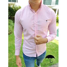 Camisa Slim Fit Cuadros Rosa, Moon & Rain