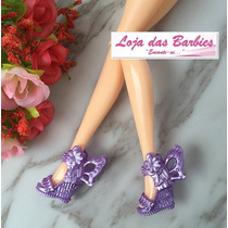 Sandália Anabela Para Boneca Barbie * Sapato Butterfly Lilás