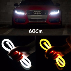 Fita Led Drl Sequencial Angel Eyes Farol Carro 60cm Par