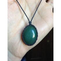 Colar Hippie Regulável Com Pedra Quartzo Verde Cabochão