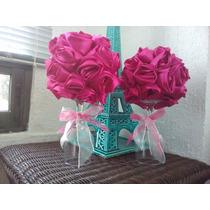 Ramo Floral Centro D Mesa Topiario Flor De Tela Rosa Eventos