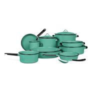 Batería De Cocina Clásico De Peltre Yaqui Plus Color Verde Jade 14 Piezas Cinsa