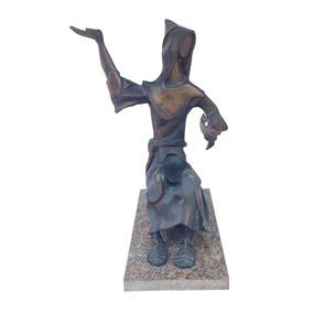 Arte Sacra - Magnifica Escultura Em Bronze São Francisco