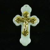 Hermosa Cruz De Jade Solido Con Crucifijo De Oro