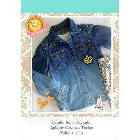 Camisa Nenas Jeans Degrade Corona Tachas Talles 4 Al 14